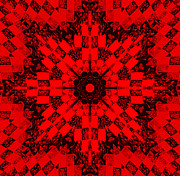 Traditional Quilts Tapestries - Textiles Metal Prints - Red Patchwork Art Metal Print by Barbara Griffin