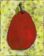 Pear Art Painting Framed Prints - Red Pear Circle Pattern Art Framed Print by Blenda Tyvoll