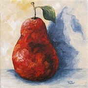 Pear Art Posters - Red Pear with Shadow Poster by Torrie Smiley