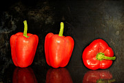Fresh Food Originals - Red peppers in a row by Tommy Hammarsten