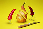 Story Telling Art Prints - Red peppers sliced a pear Print by Paul Ge