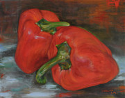 Red Hot Chili Peppers Paintings - Red Peppers by Timi Johnson
