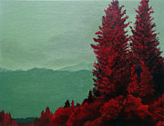Live Painting Originals - Red Pines In Contrast by Laura Charlesworth