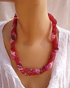 Red Beads Jewelry - Red Pink In Dutch Spiral Necklace by Nurit Schlomi von-strauss
