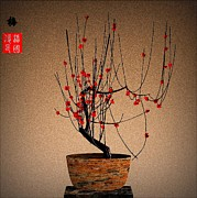 Plum Prints - Red Plum Blossoms Print by GuoJun Pan