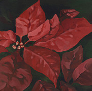 Family Love Painting Originals - Red Poinsettia by Natasha Denger