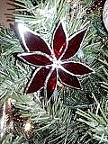 Holiday Glass Art - Red Poinsettia Ornament by Liz Shepard