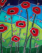 Silver Turquoise Mixed Media - Red Poppies 1 by Cynthia Snyder
