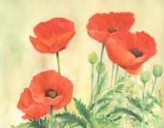 K Joann Russell - Red Poppies 3 Colorful Watercolor Poppy Floral Original Art Flowers Garden Artist K. Joann Russell