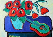 Violins Paintings - Red Poppies And Guitar  by Ana Maria Edulescu