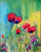 Blooming Drawings Metal Prints - Red Poppies and thistles Metal Print by Julia Gatti