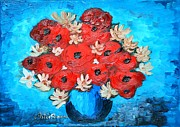 Poppies Field Paintings - Red Poppies and White Daisies by Ramona Matei
