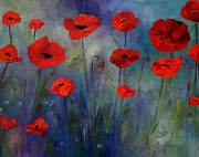 Claire Bull Posters - Red Poppies Blue Fog Poster by Claire Bull