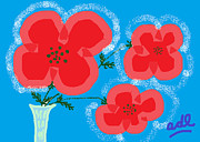 Abstracted Drawings Framed Prints - Red Poppies Blue Ground Framed Print by Anita Dale Livaditis