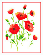 Blooming Paintings - Red Poppies Botanical Design by Irina Sztukowski