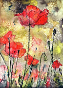 Ginette Fine Art LLC Ginette Callaway - Red Poppies Botanical Watercolor and Ink
