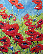 Acrylic On Canvas Originals - Red poppies by Prankearts by Richard T Pranke