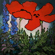 Tile Ceramics Posters - Red Poppies Poster by Carol Keiser