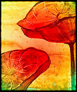 Poppies Artwork Framed Prints - Red Poppies Colorful Abstract Painting Framed Print by Laura  Carter