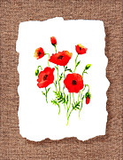 Florals On Canvas Posters - Red Poppies Decorative Collage Poster by Irina Sztukowski