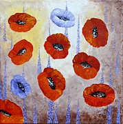Lavander Paintings - Red Poppies  by Georgeta  Blanaru