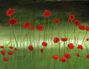 Original Oil On Canvas Posters - Red Poppies In The Woods Poster by Cecilia  Brendel