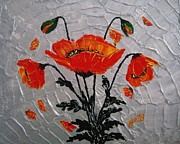 Textured Painting Originals - Red Poppies original palette knife by Georgeta  Blanaru