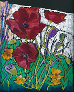 Flower Pastels Posters - Red Poppies Poster by Toshiko Tanimoto