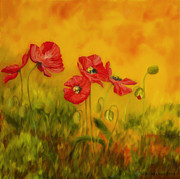 Green Oil Paintings - Red Poppies by Veikko Suikkanen