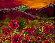 Snowy Night Painting Posters - Red Poppy Hills Poster by Wendy Wilkins