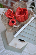 Grey Ceramics Metal Prints - Red Poppy Inn Metal Print by Amanda  Sanford