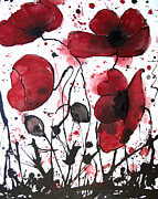 Maggie Turner - Red Poppy Painting
