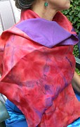 Silk Scarf Tapestries - Textiles Originals - Red/Purple Silk Stole by Bernadette Aitken