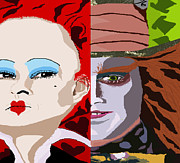 Mad Hatter Digital Art Prints - Red Queen and Mad Hatter Print by Corey Hopper