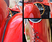 Steering Mixed Media Posters - Red Racing Ferrari Collage Poster by AdSpice Studios