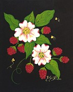 Raspberry Originals - Red Raspberries and Dogwood Flowers by Barbara Griffin