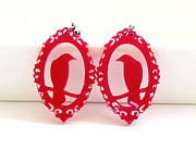 Wings Jewelry - Red Raven In a Victorian Frame Earrings by Rony Bank