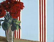 Striped Prints - Red Red Roses Print by Alix Soubiran-Hall