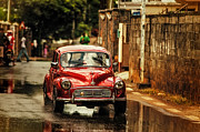 Mauritius Prints - Red RetroMobile. Morris Minor Print by Jenny Rainbow