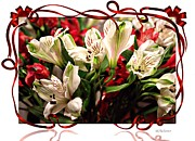 Red Ribbon Digital Art - Red Ribbon Lilies by Barbara Chichester