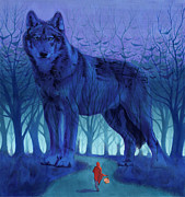 Wolf Painting Posters - Red Riding Hood Poster by Alan  Hawley
