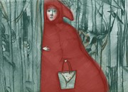 Red Riding Hood Paintings - Red Riding Hood by Barbara Hranilovich