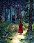 Red Riding Hood Paintings - Red Riding Hood by Heather Calderon