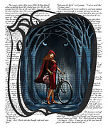 Sassan Filsoof Framed Prints - Red Riding Hood with text Framed Print by Sassan Filsoof