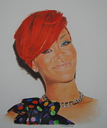 Rihanna Drawings - Red Rihanna. by Gary Fernandez
