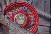 Jeffery Johnson Prints - Red Rim On Classic Car Print by Photo Captures by Jeffery
