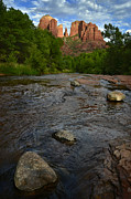 Southwestern Landscape Framed Prints - Red River Crossing under Cathedral Rock Framed Print by Dave Dilli