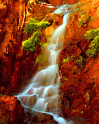 Golden Sunlight Paintings - Red River Falls  by Peter Piatt