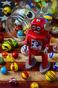 Plaything Prints - Red robot and marbles Print by Garry Gay