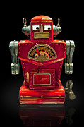 Gary Warnimont Metal Prints - Red Robot Metal Print by Gary Warnimont
